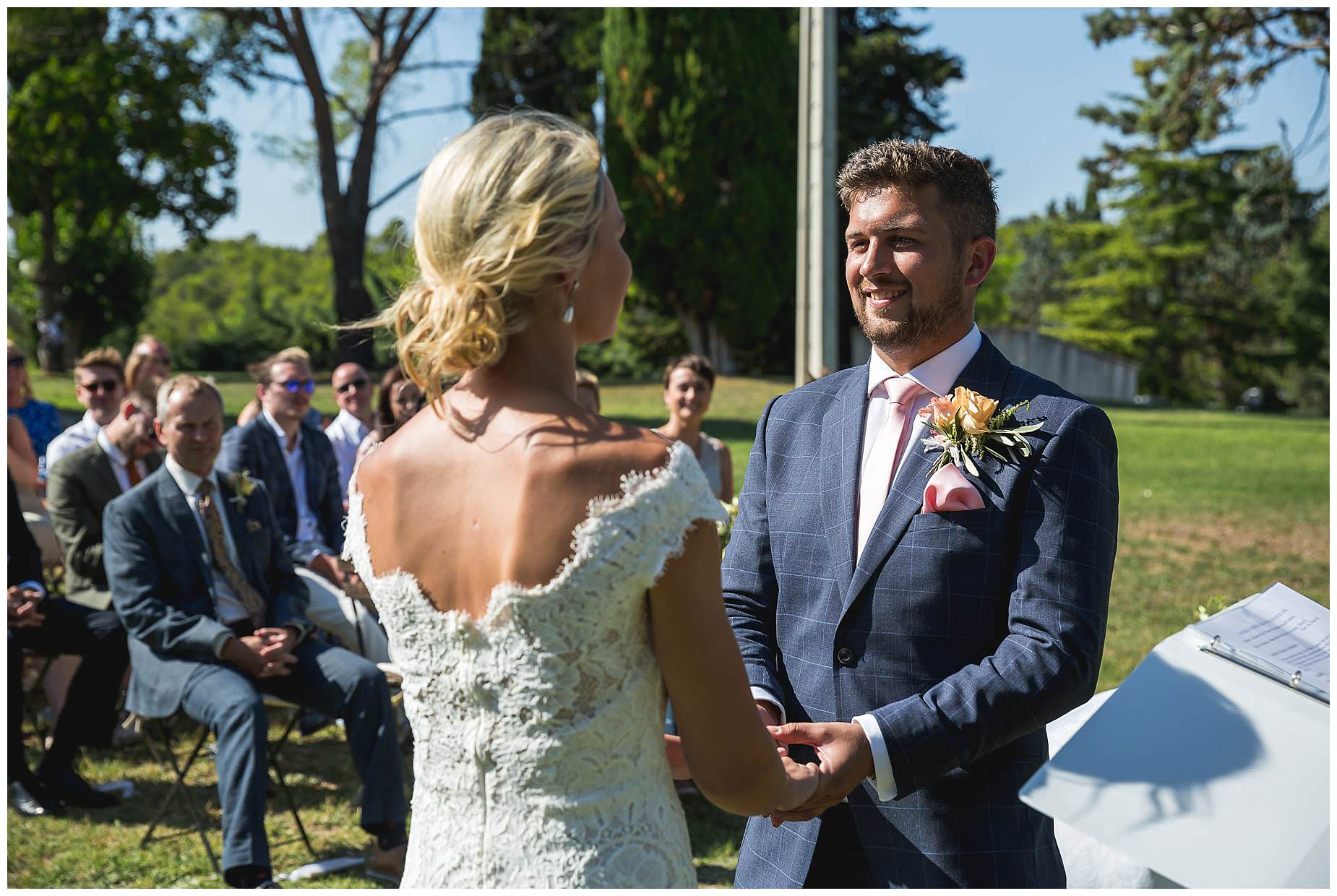 wedding vows at Domaine Saint Germain