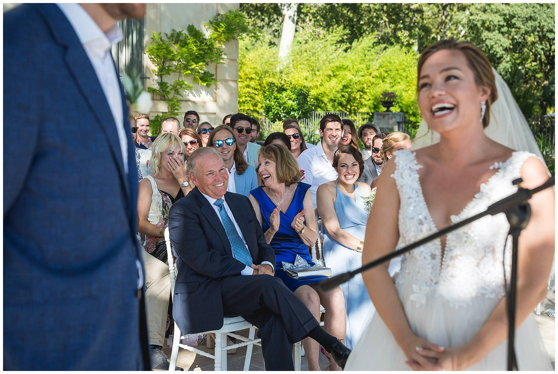 guests in ceremony laughing