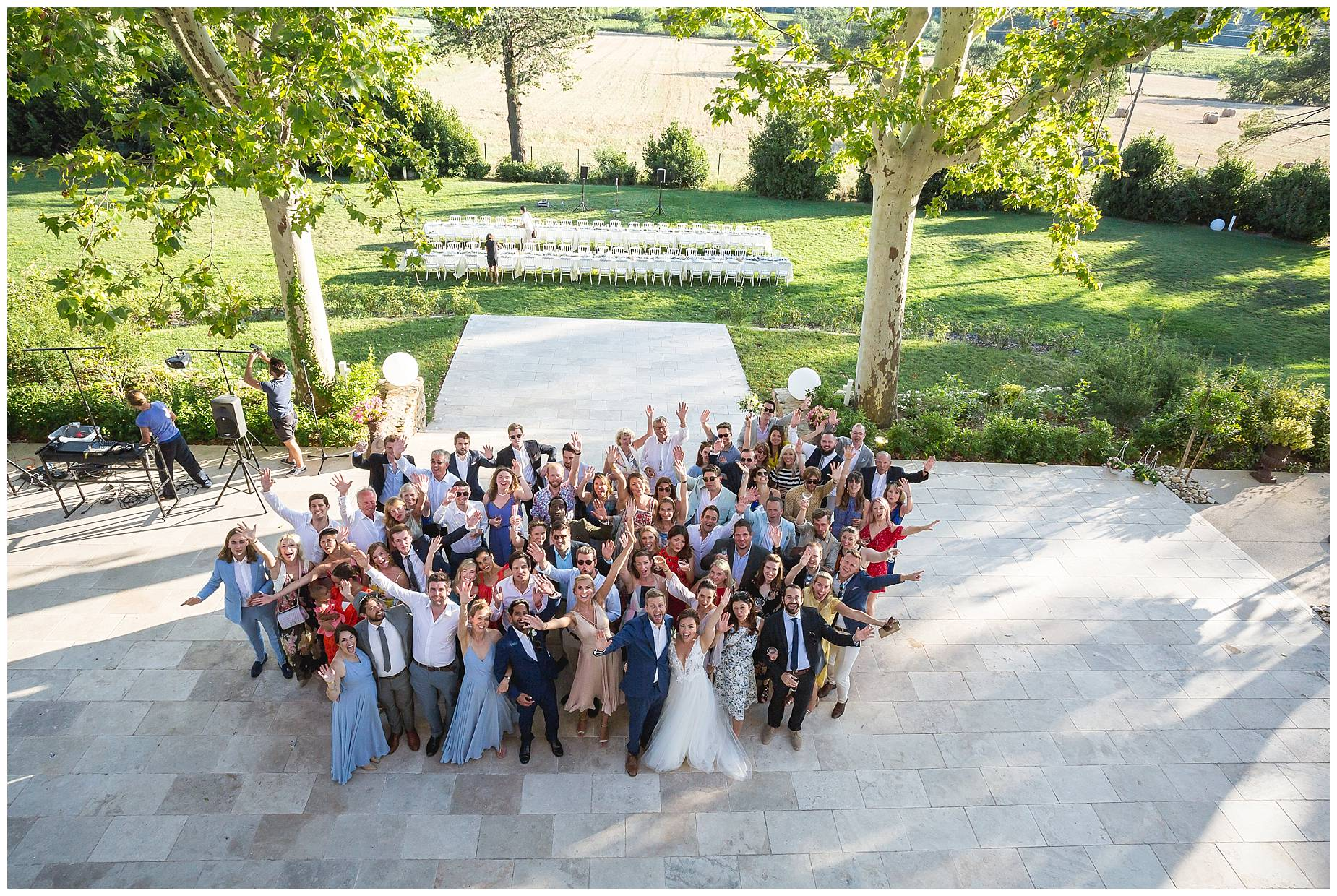 group shot at Chateau de Malmont Wedding