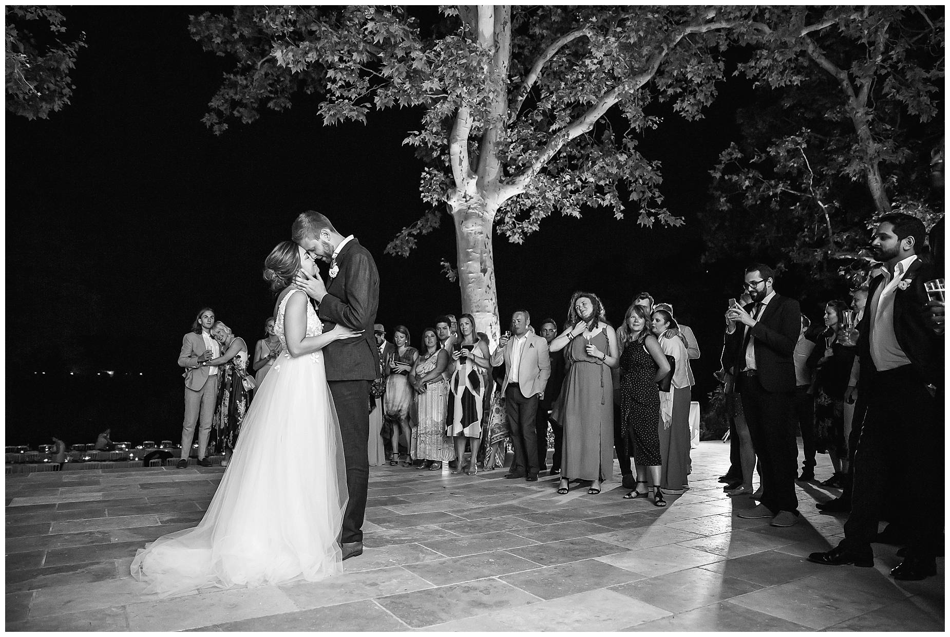 black and white picture of bride and groom dancing at their Chateau de Malmont Wedding