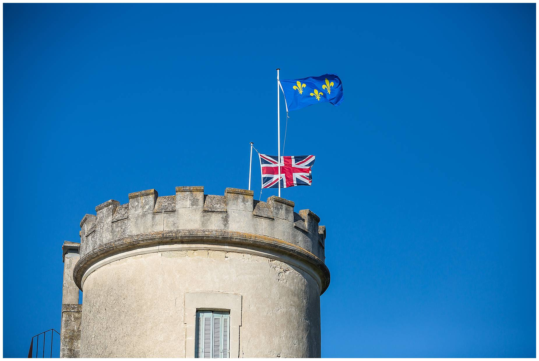 UK flag flying over Chateau de Pouget