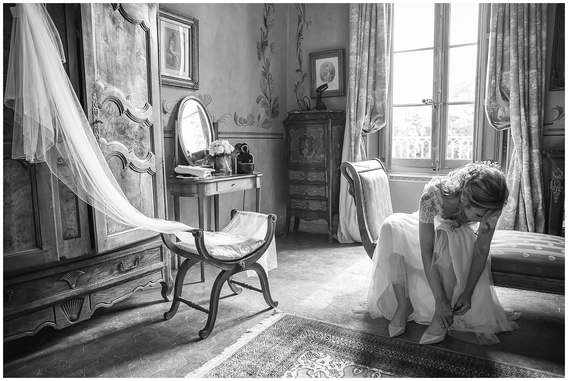 bride getting ready at Chateau de Pouget Wedding