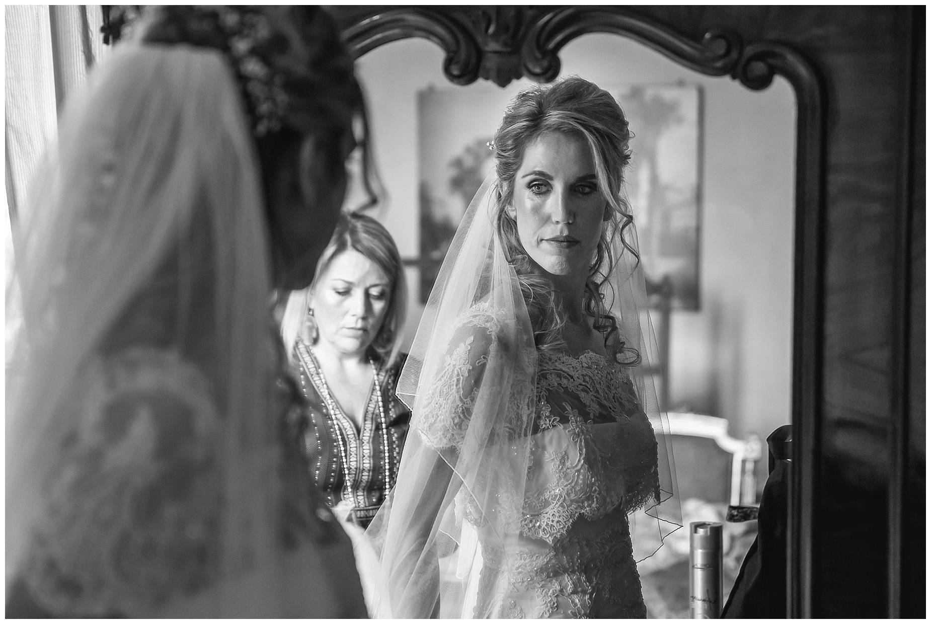 Chateau de Pouget bride getting ready in mirror