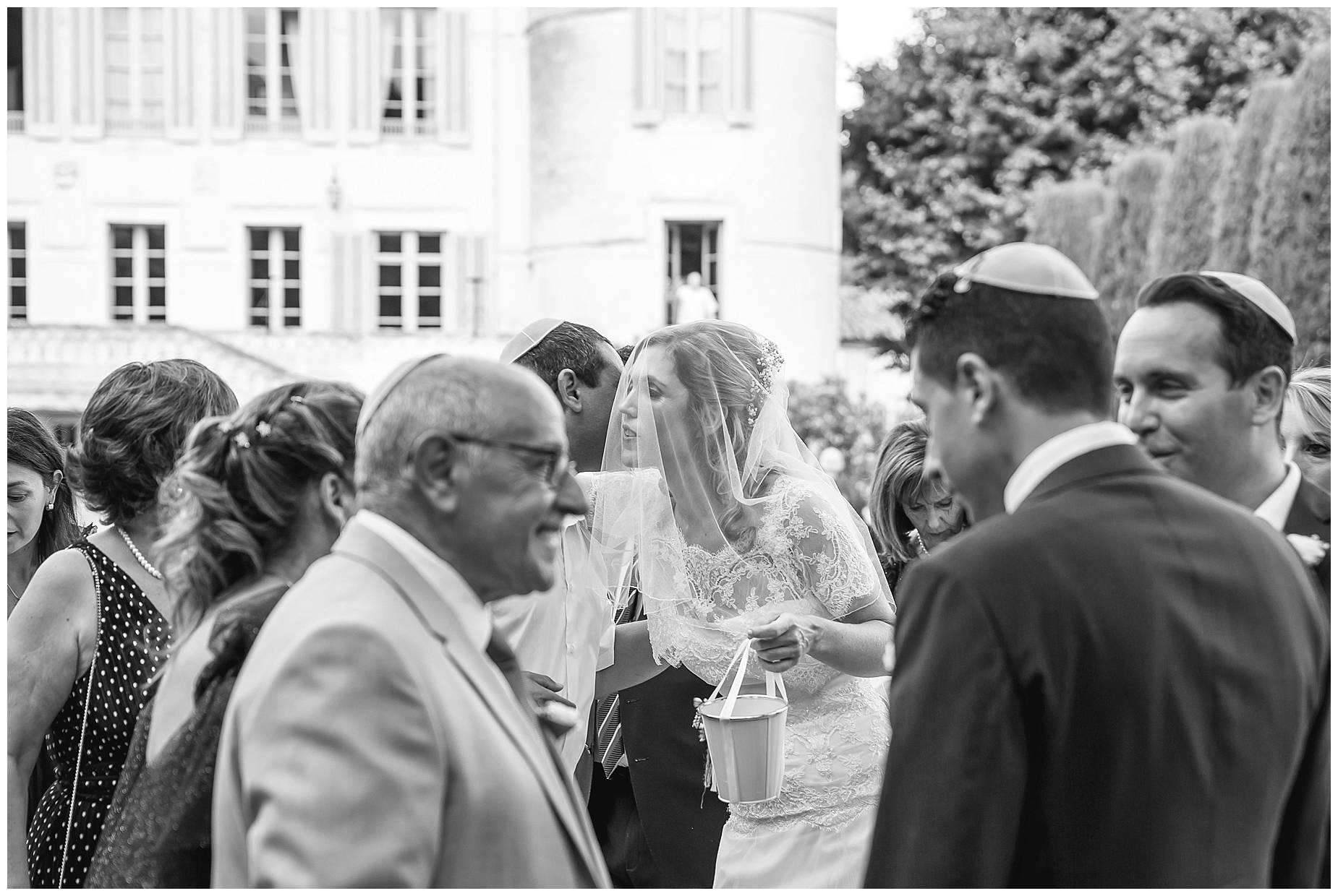 bride kisses guests