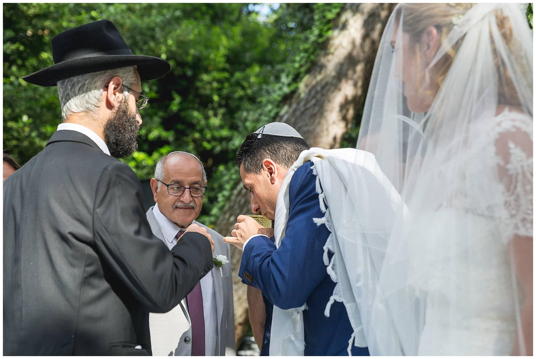 sip of wine in Jewish ceremony