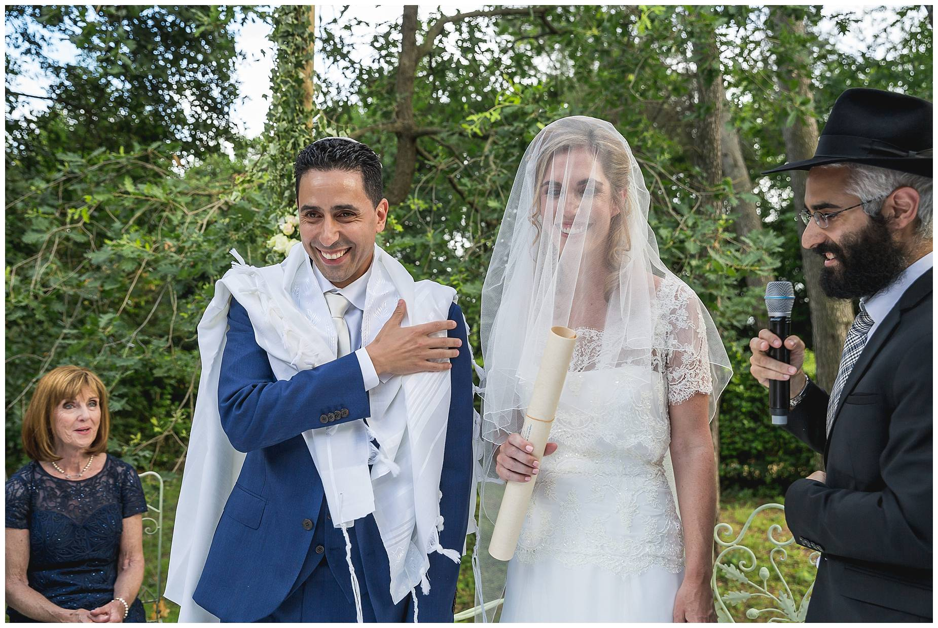 Bride and groom in Jewish ceremony at Chateau de Pouget