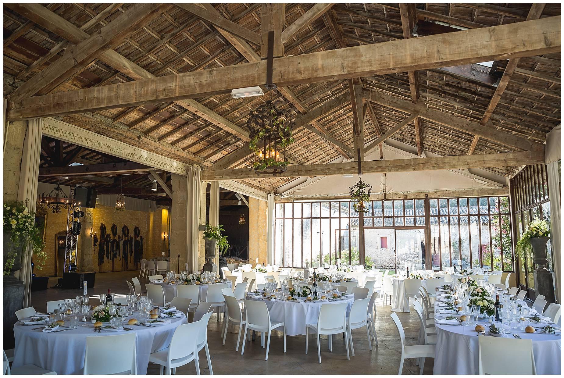 room set up at Chateau de Pouget wedding