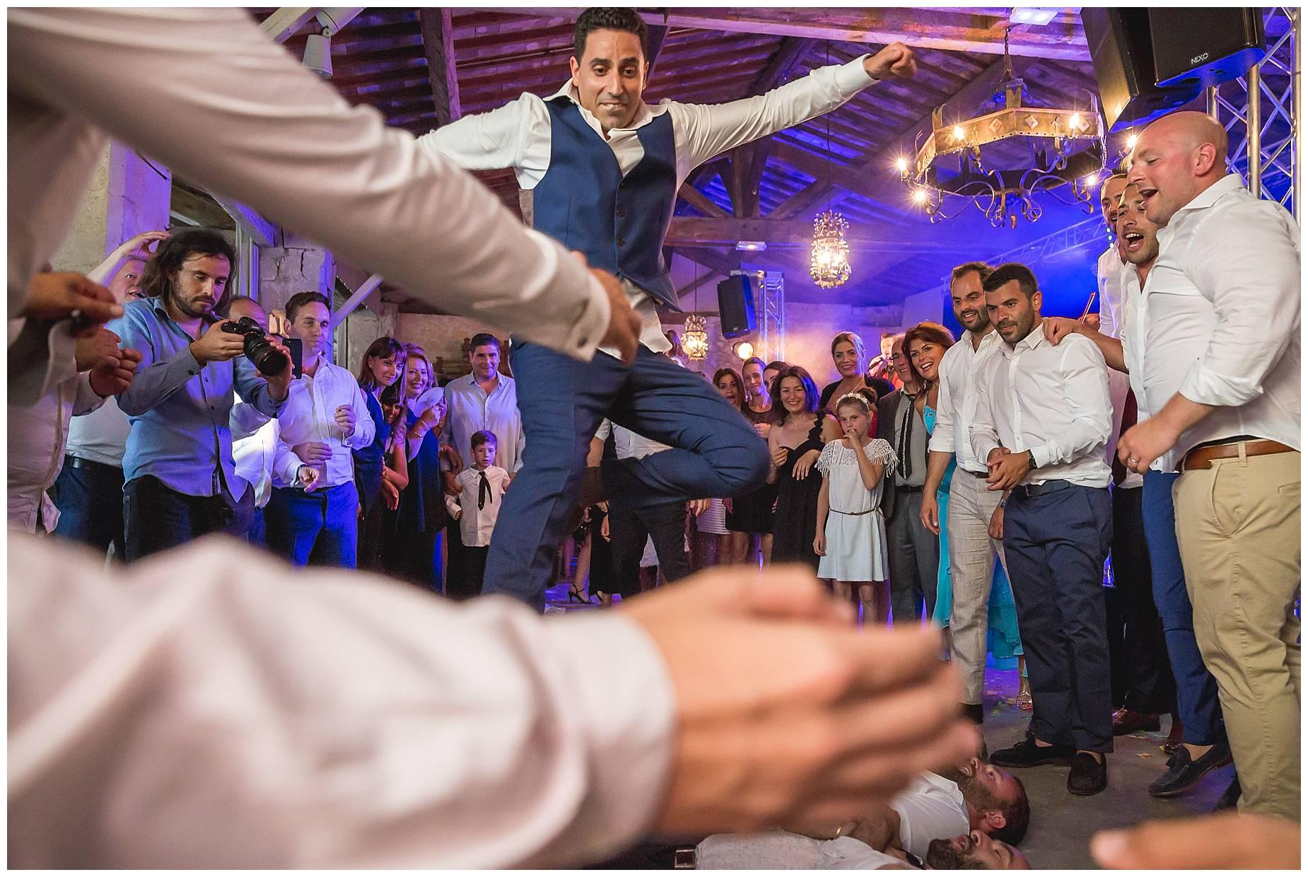 groom jumps