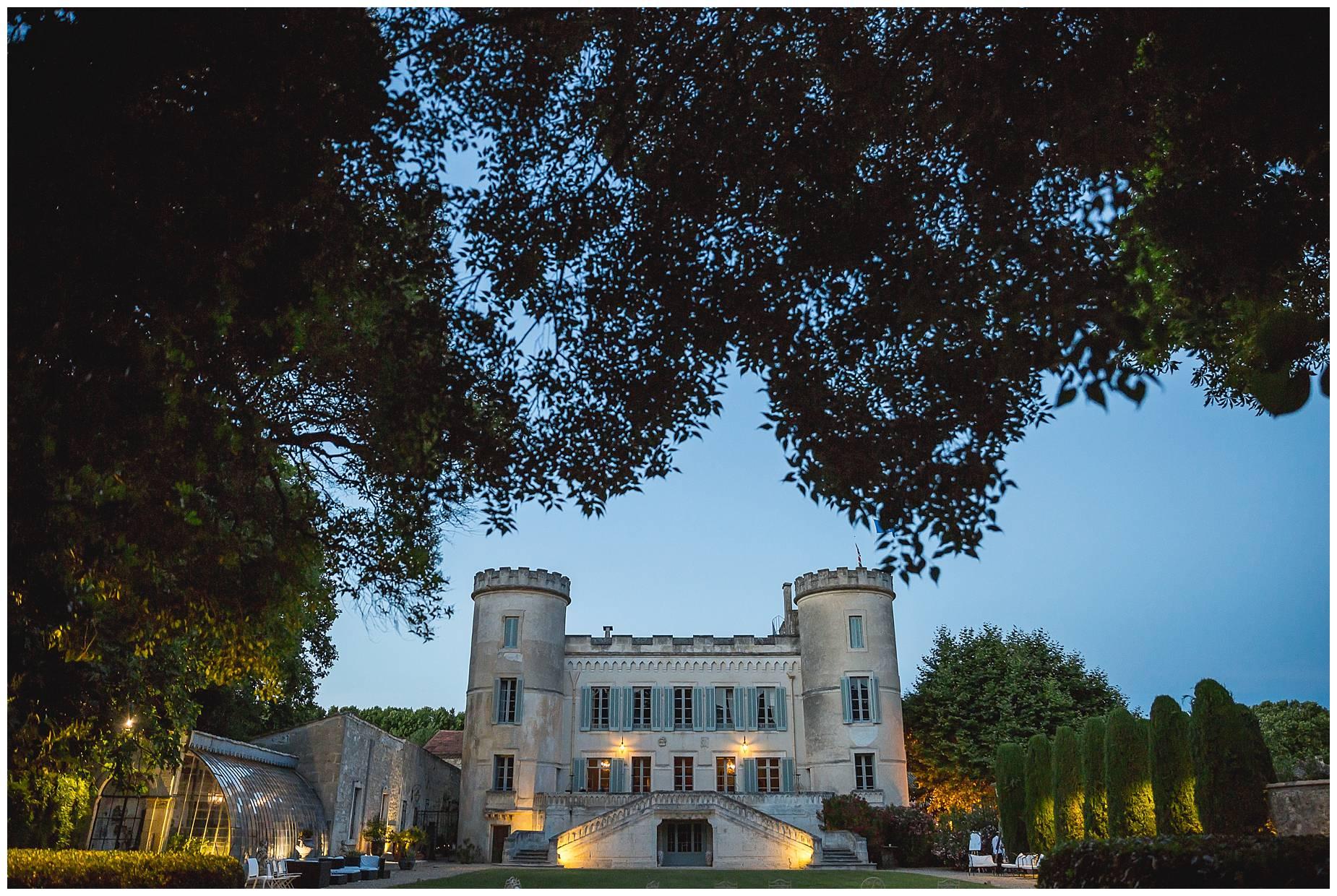 Chateau de Pouget at night