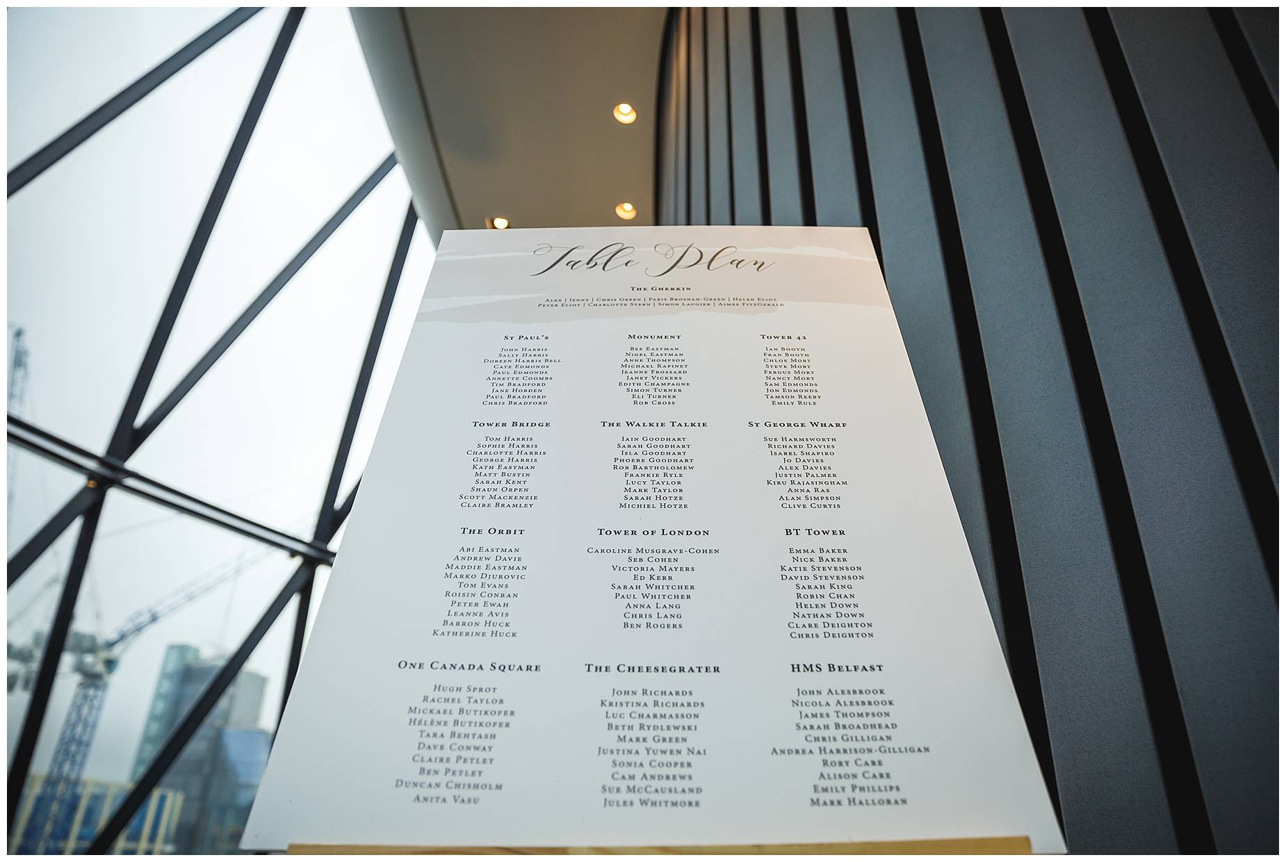 Table plan for wedding at the Gherkin