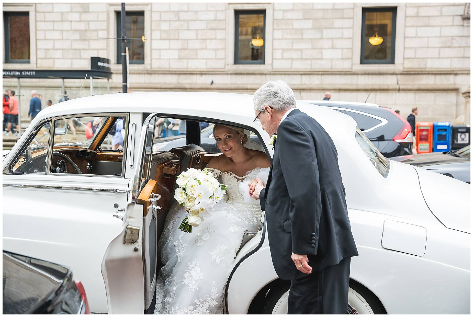 bride gets out of rolls royce