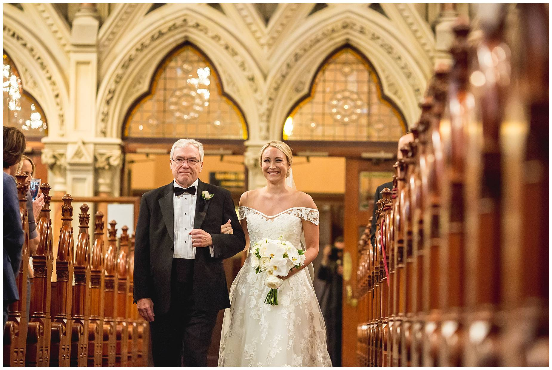 bride walking down the aisle with her Dad at Old South Church Boston