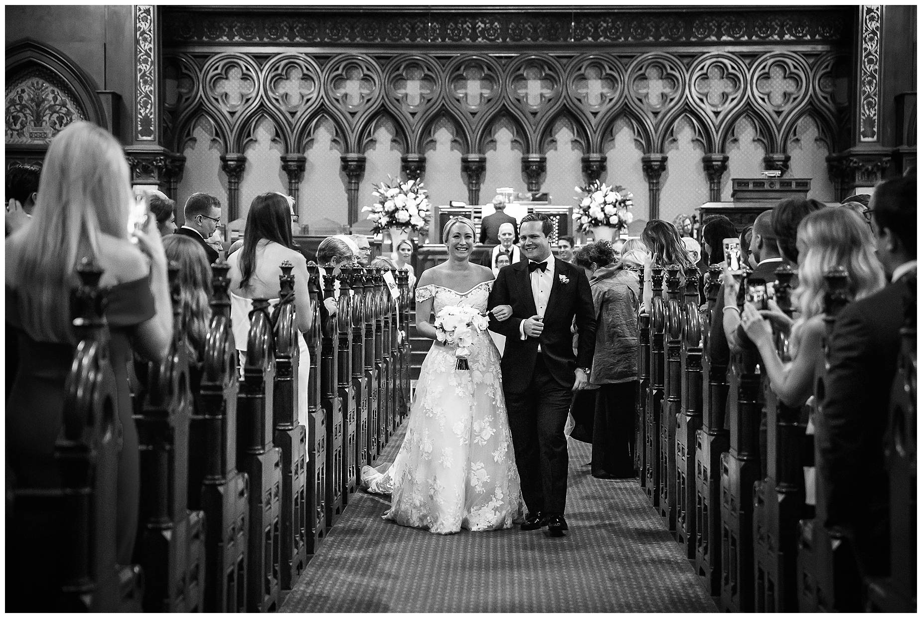 Walking down the aisle married Old South Church Wedding
