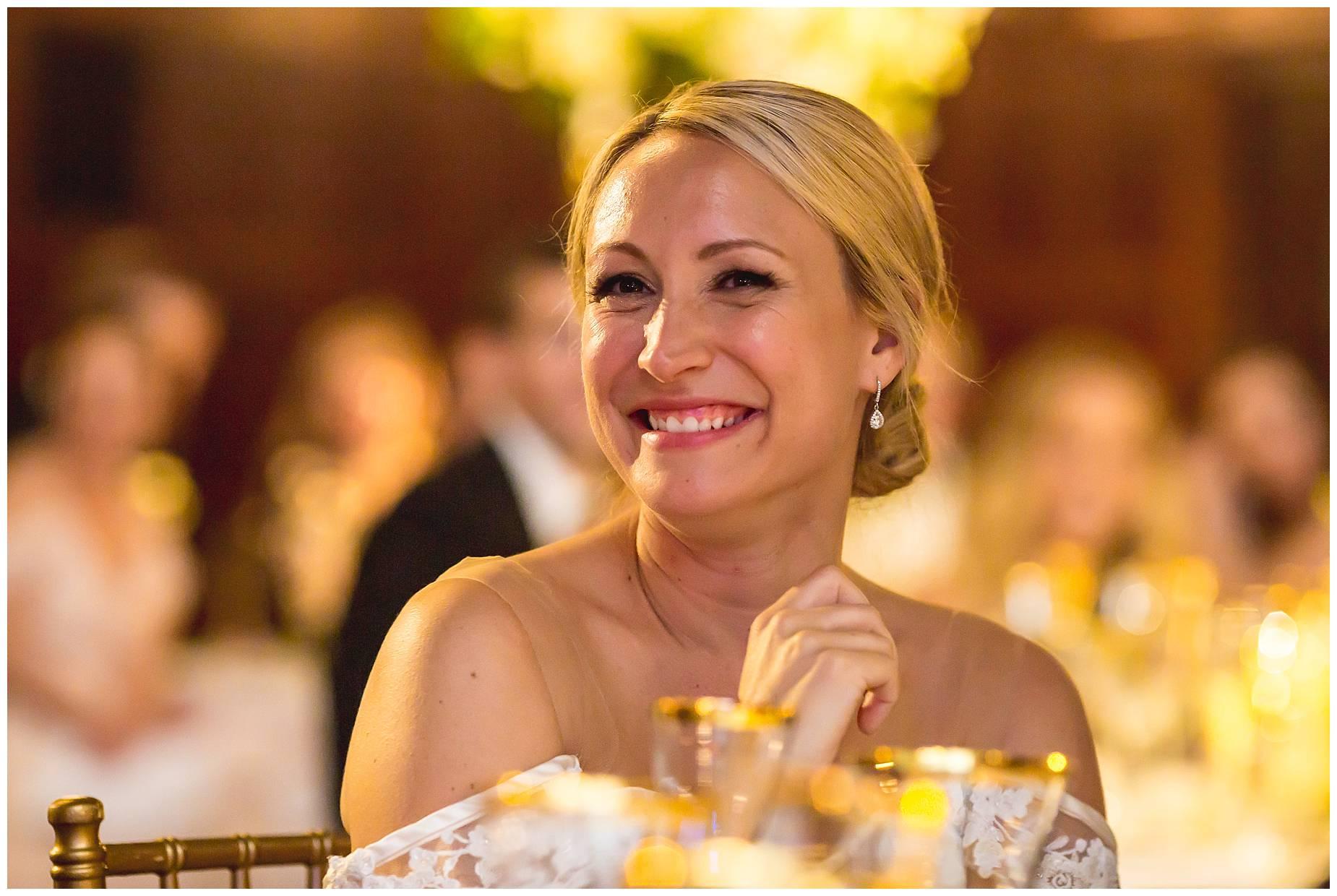 bride laughing at wedding speeches Harvard Club