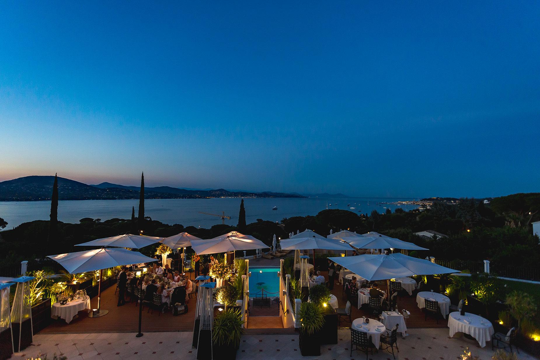 nightime view from Althoff Hotel Villa Belrose wedding
