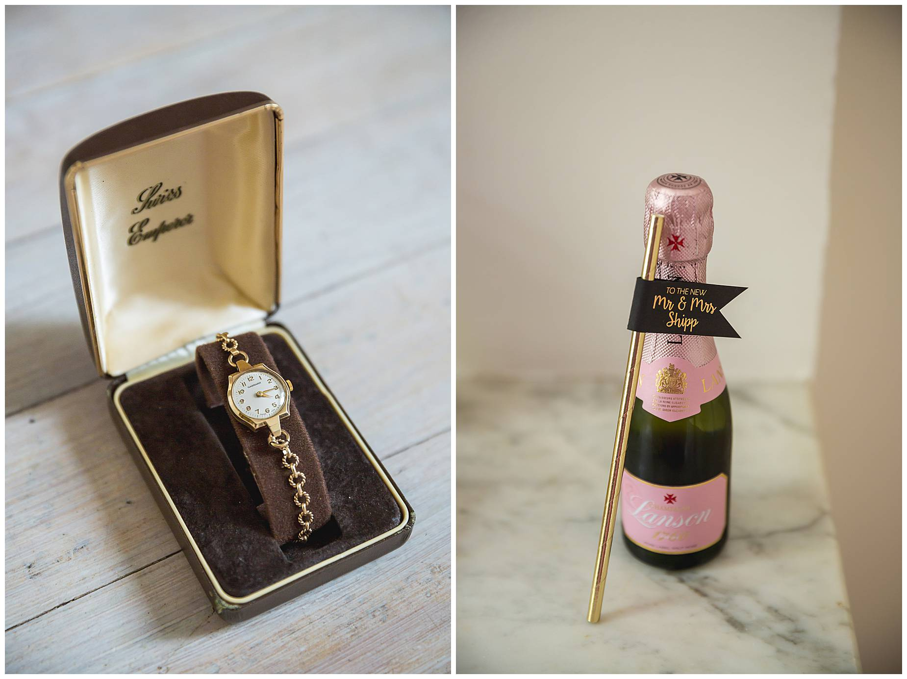 champagne and wedding watch