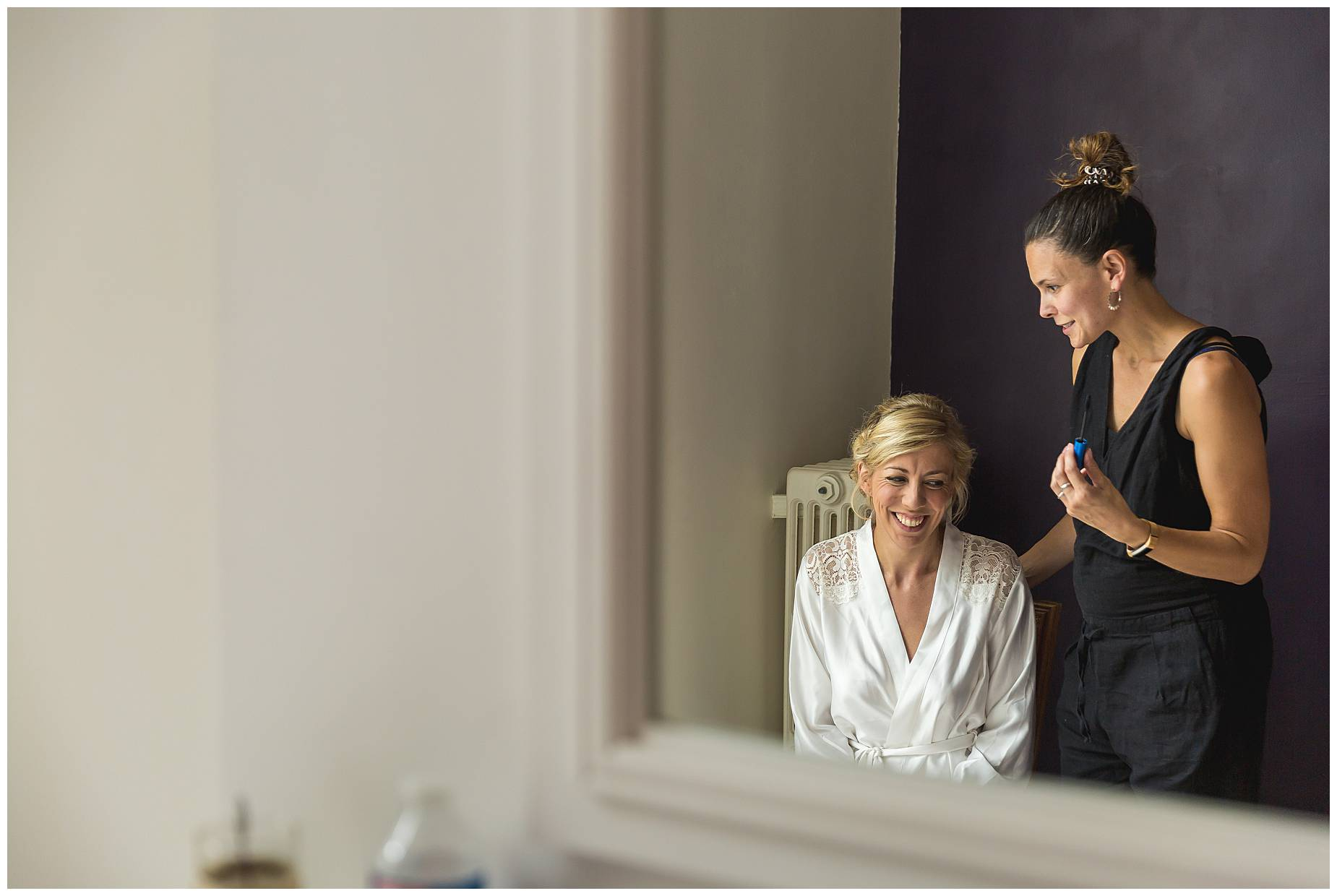 Chateau Blomac Wedding bride having make up done