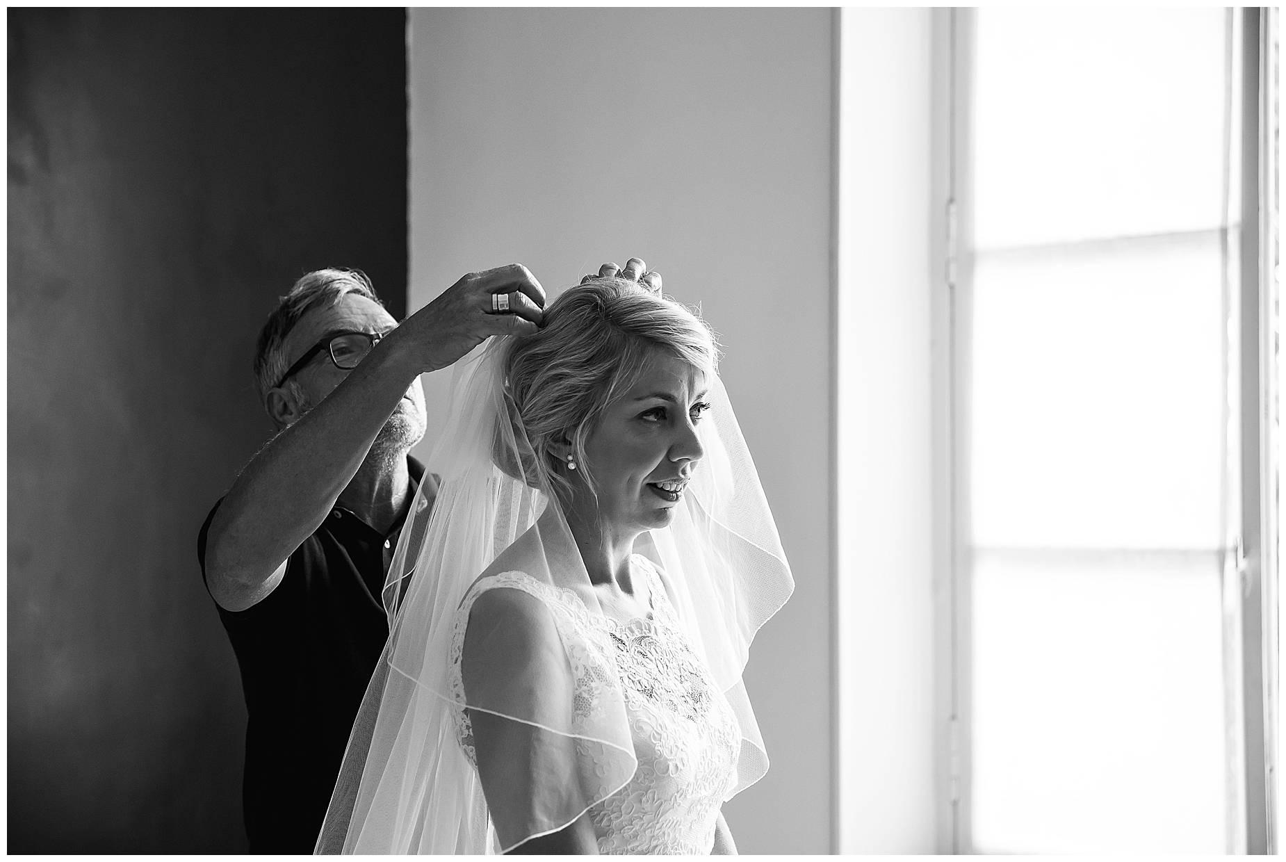 Veil being attached