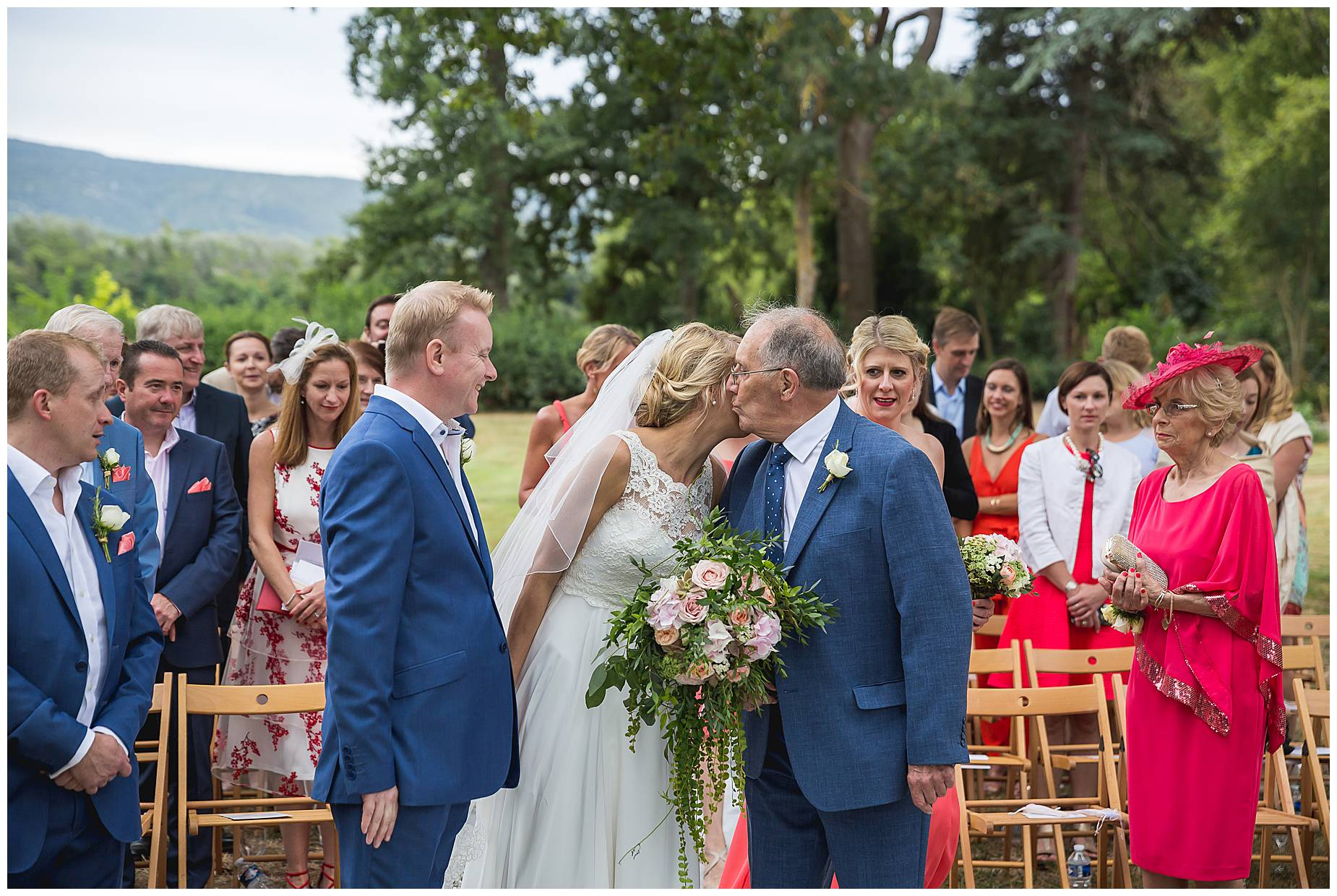 bride kisses dad