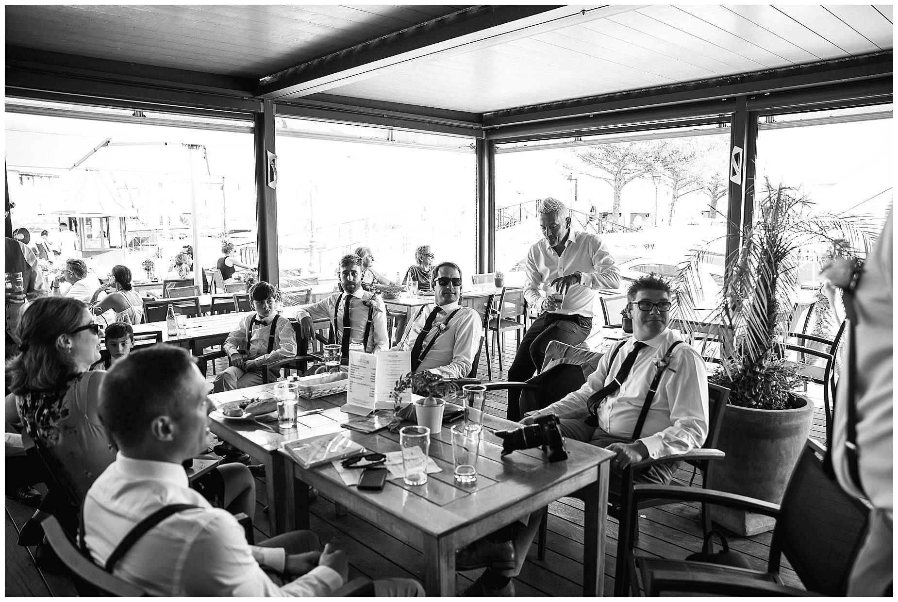 Port Grimaud Wedding boys waiting in cafe