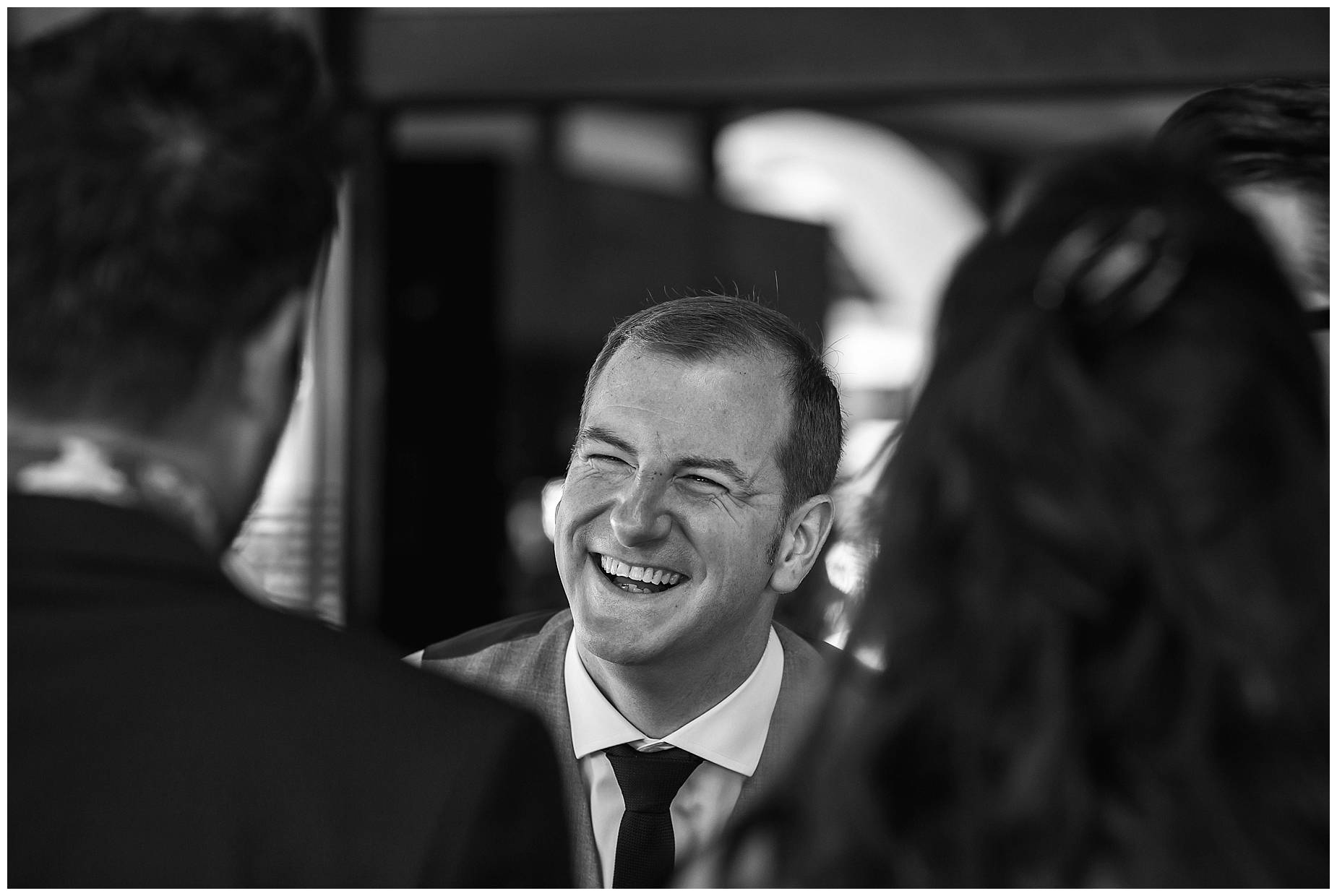 groom laughing at Port Grimaud Wedding