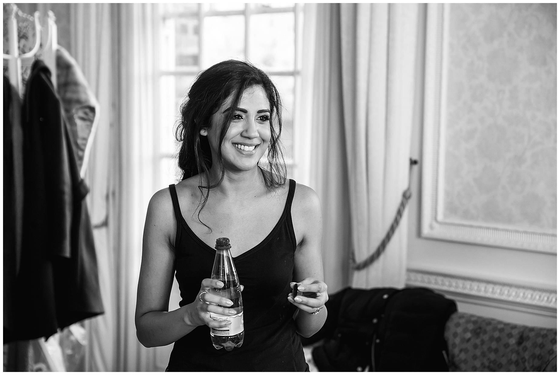 bridesmaid grabbed champagne