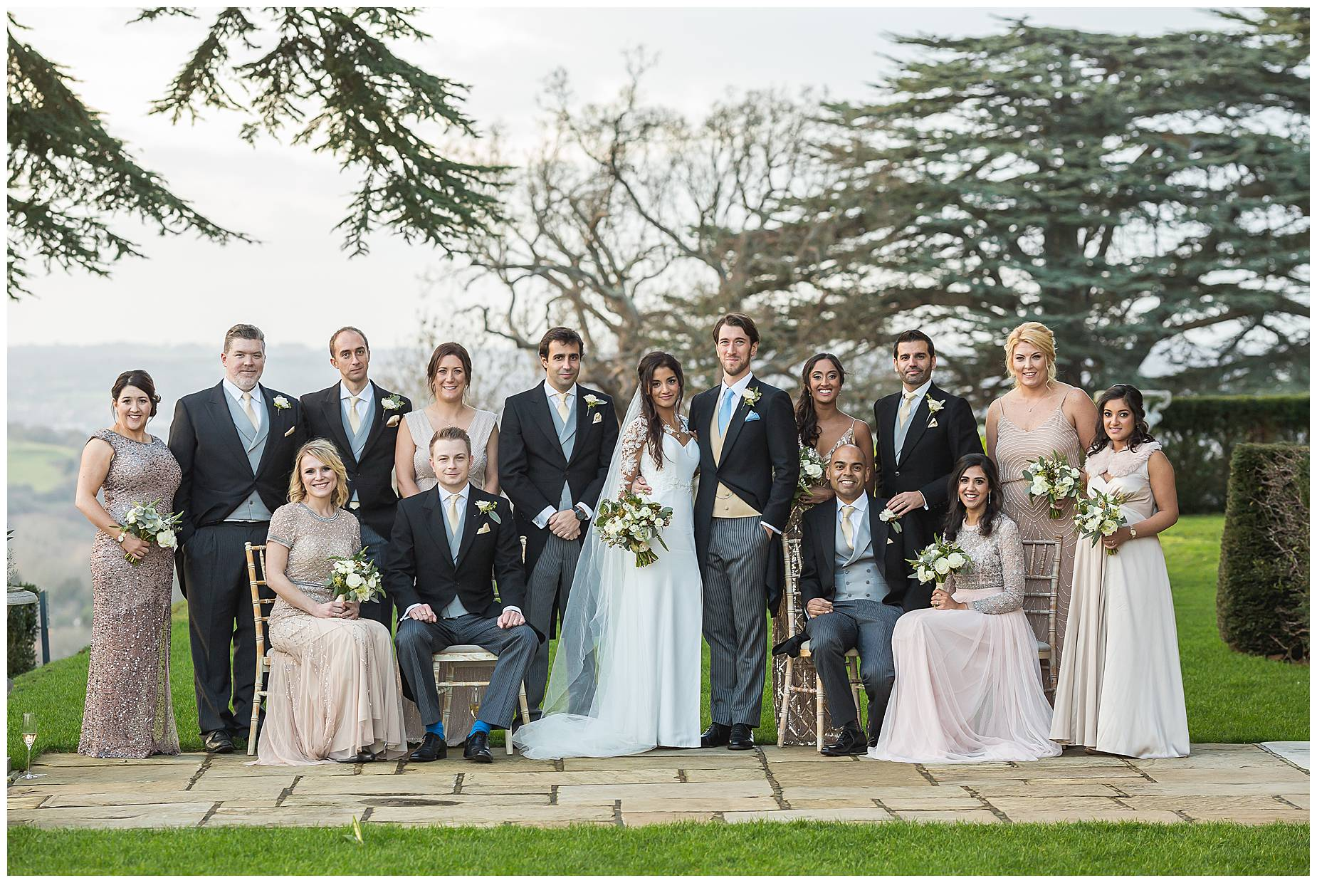 bridal party at hedsor house