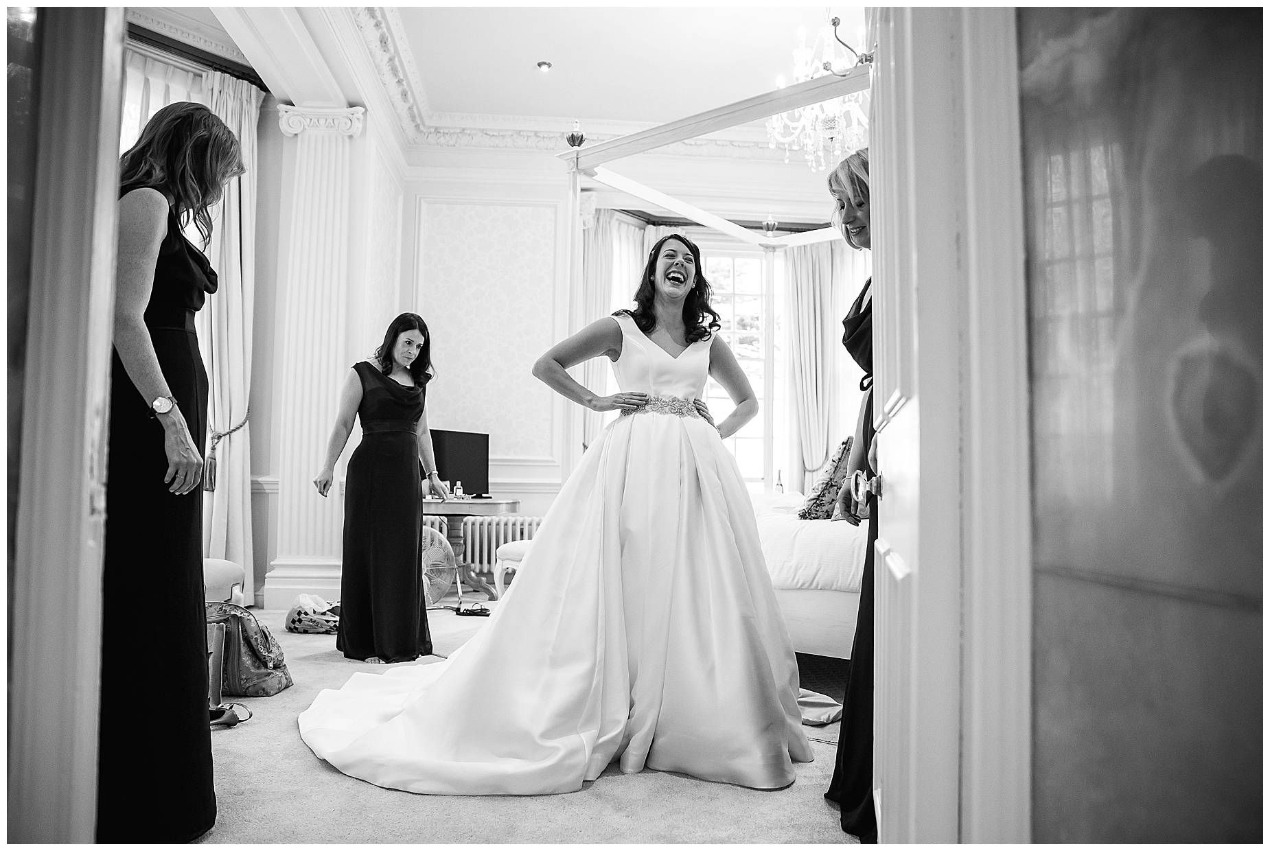 bride laughing at hedsor house