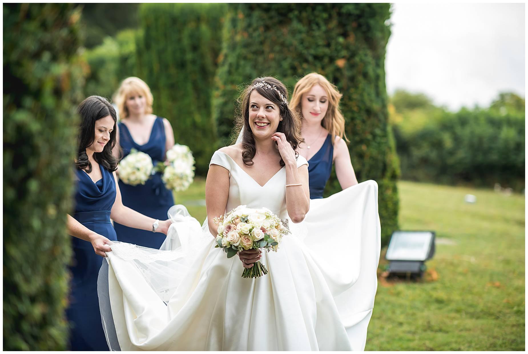bride at church door