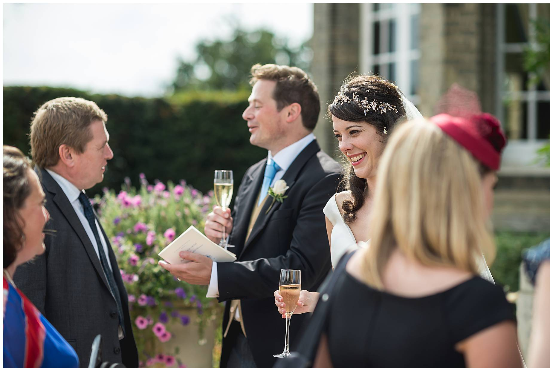 couple greet friends at Hedsor House Wedding