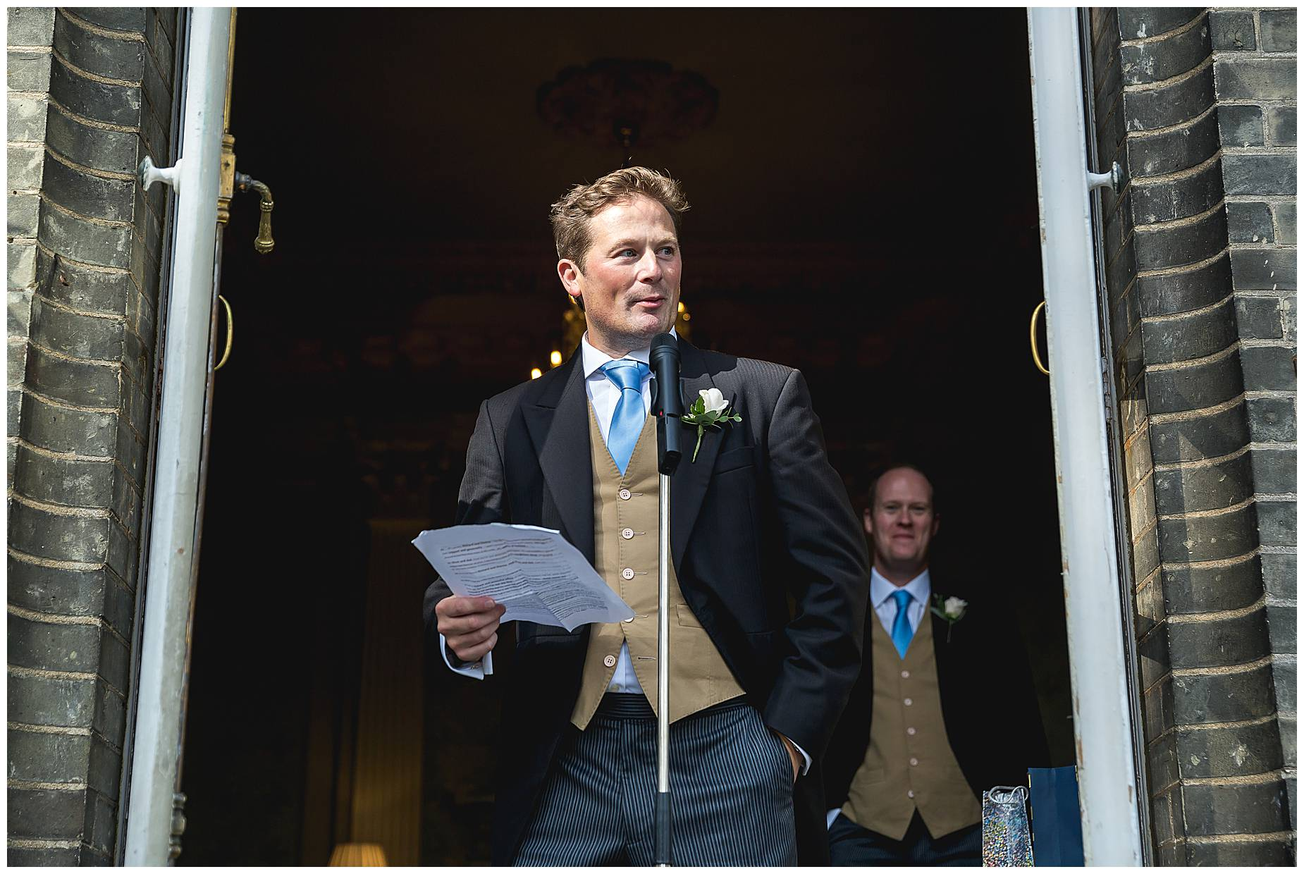 groom gives speech at hedsor house