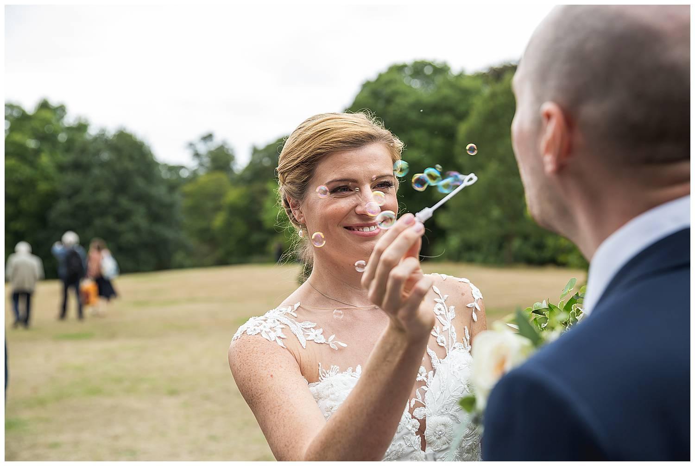 bride blws bubbles
