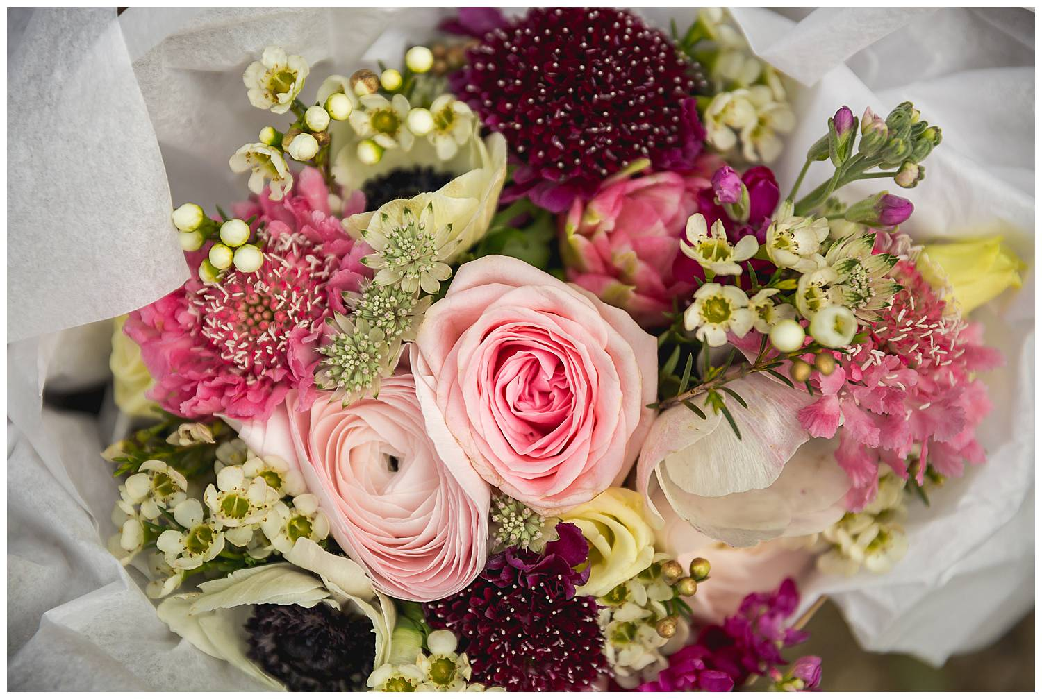 bouquet in pink and mauve