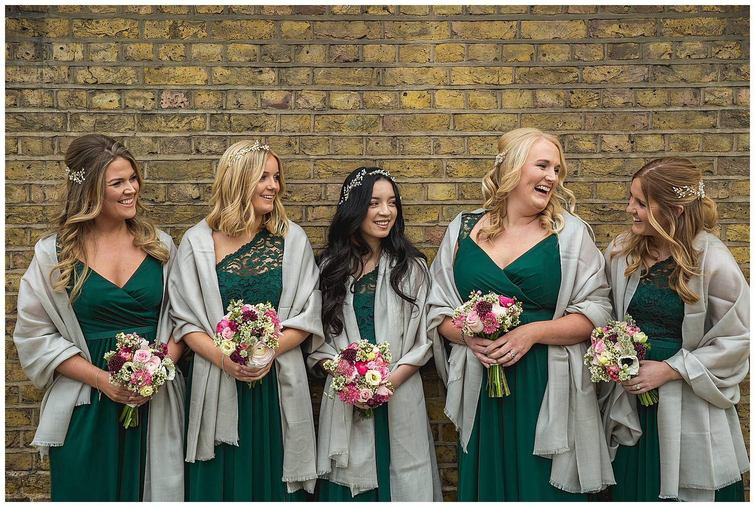 London wedding bridesmaids in green