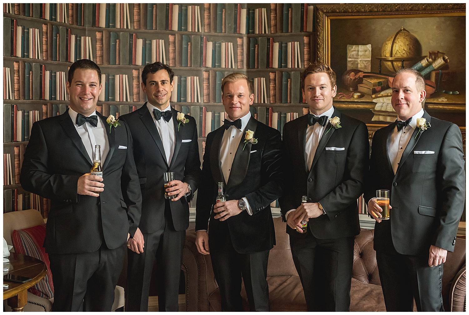 groom and groomsmen at Hedsor House library room