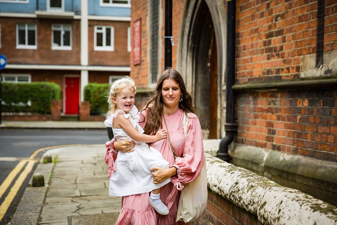 guests arrives with baby to church