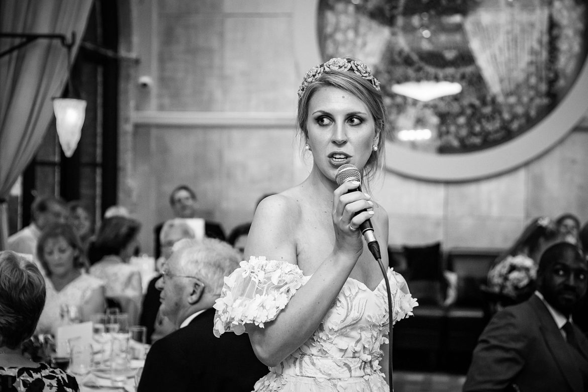 bride gives speech at wedding