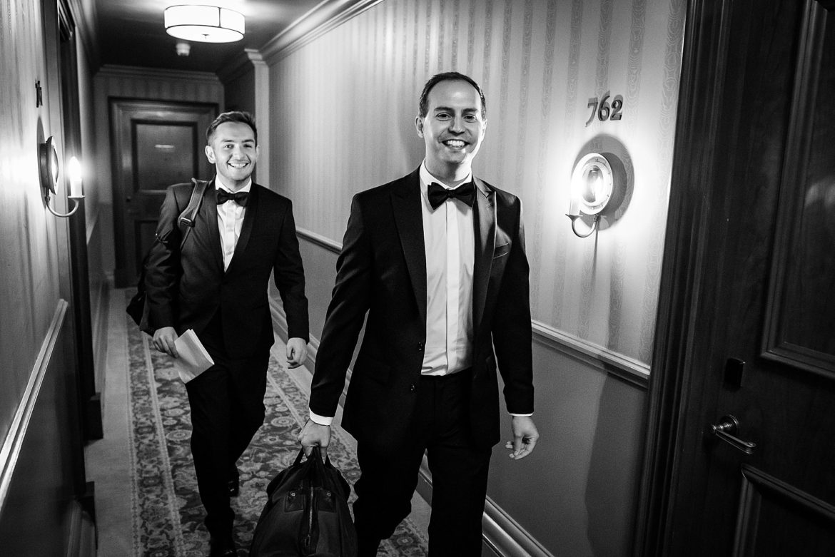 Groom leaves for his wedding ceremony