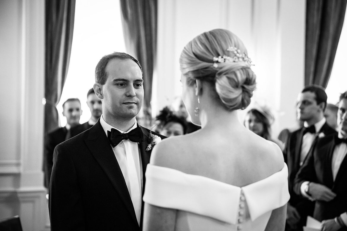 groom looks at bride at The Ned Wedding