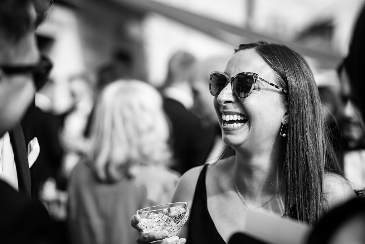 black and white of girl with vintage champagne glass