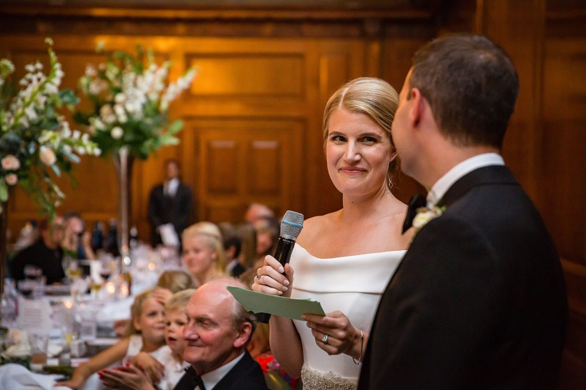 Bride gives speech