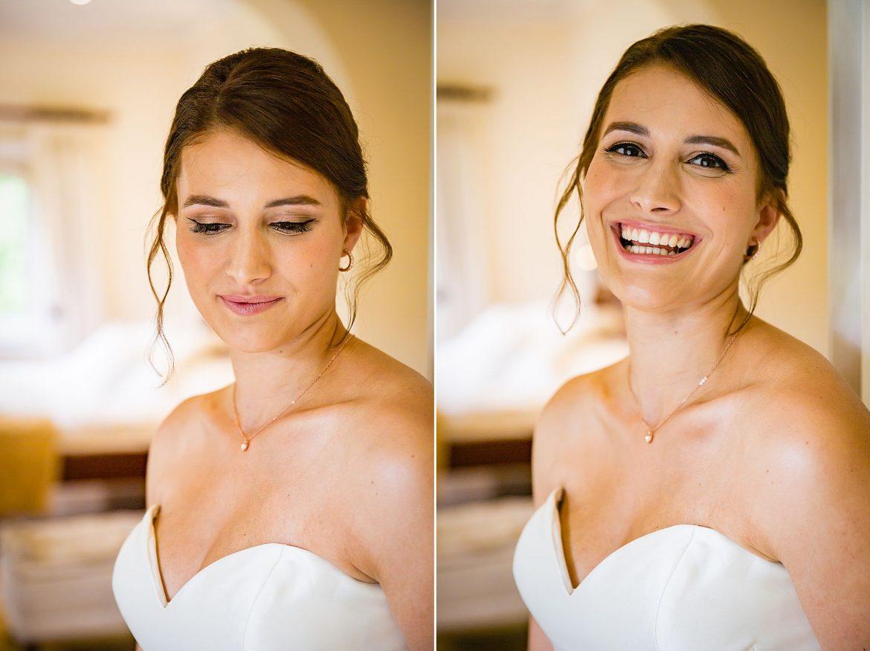 colour portrait of bride smiling