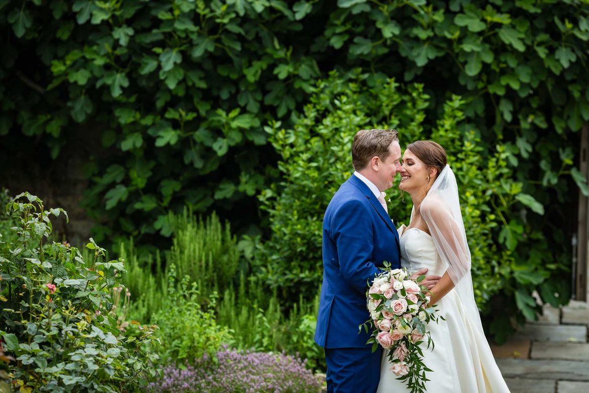 portrait of bride and groom at Notley Abbey Wedding