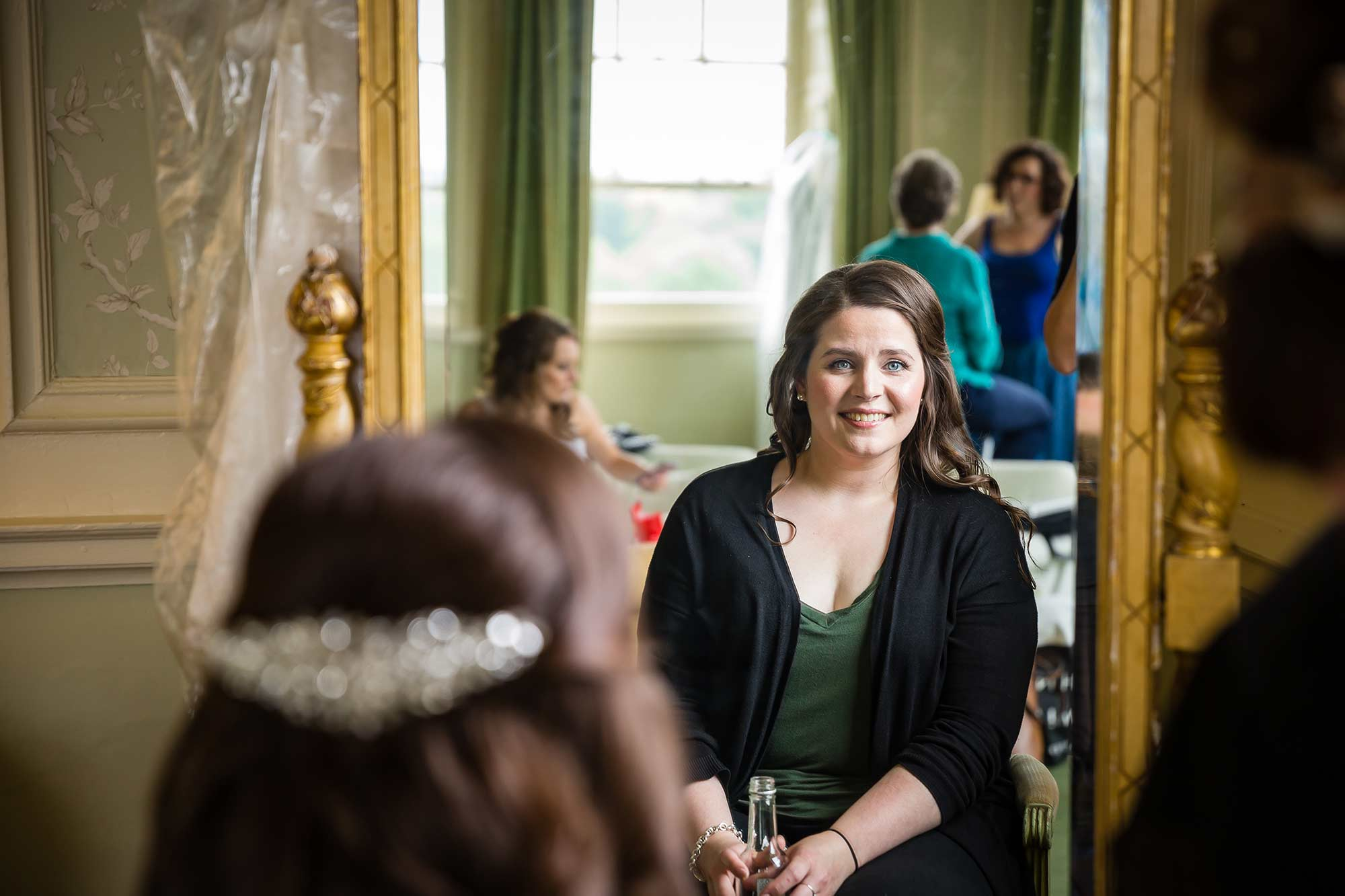 bride getting ready at Brocket Hall