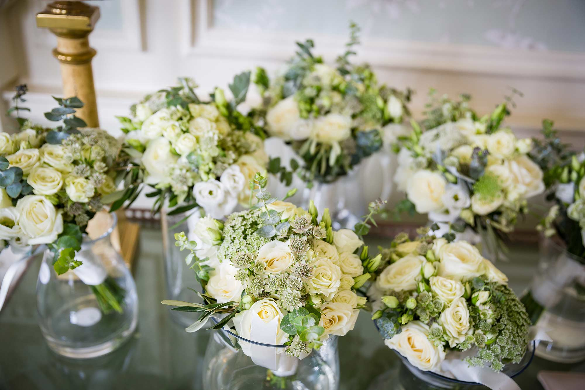 cream and green bouquets