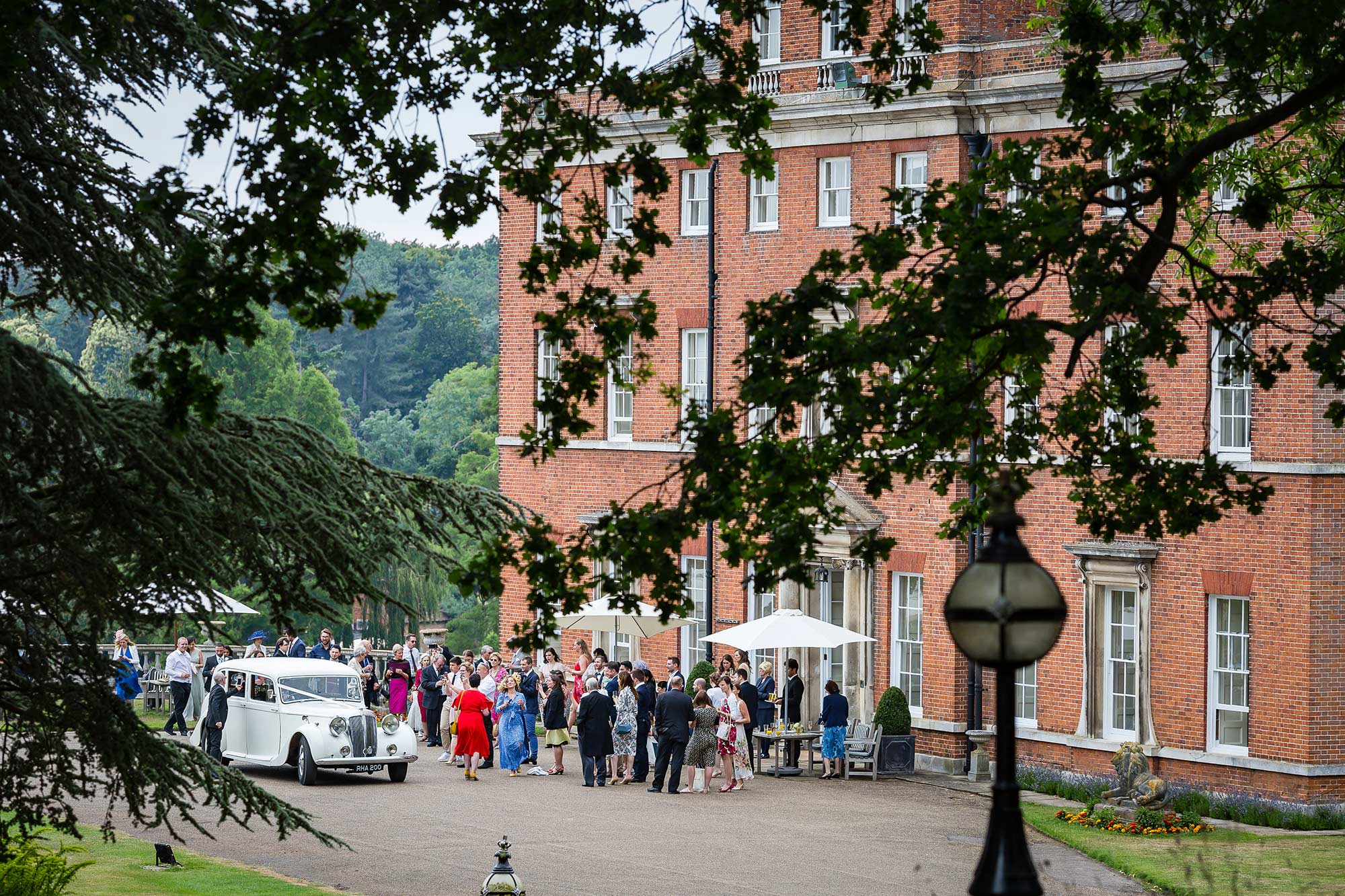 Brocket Hall drinks reception guest outside