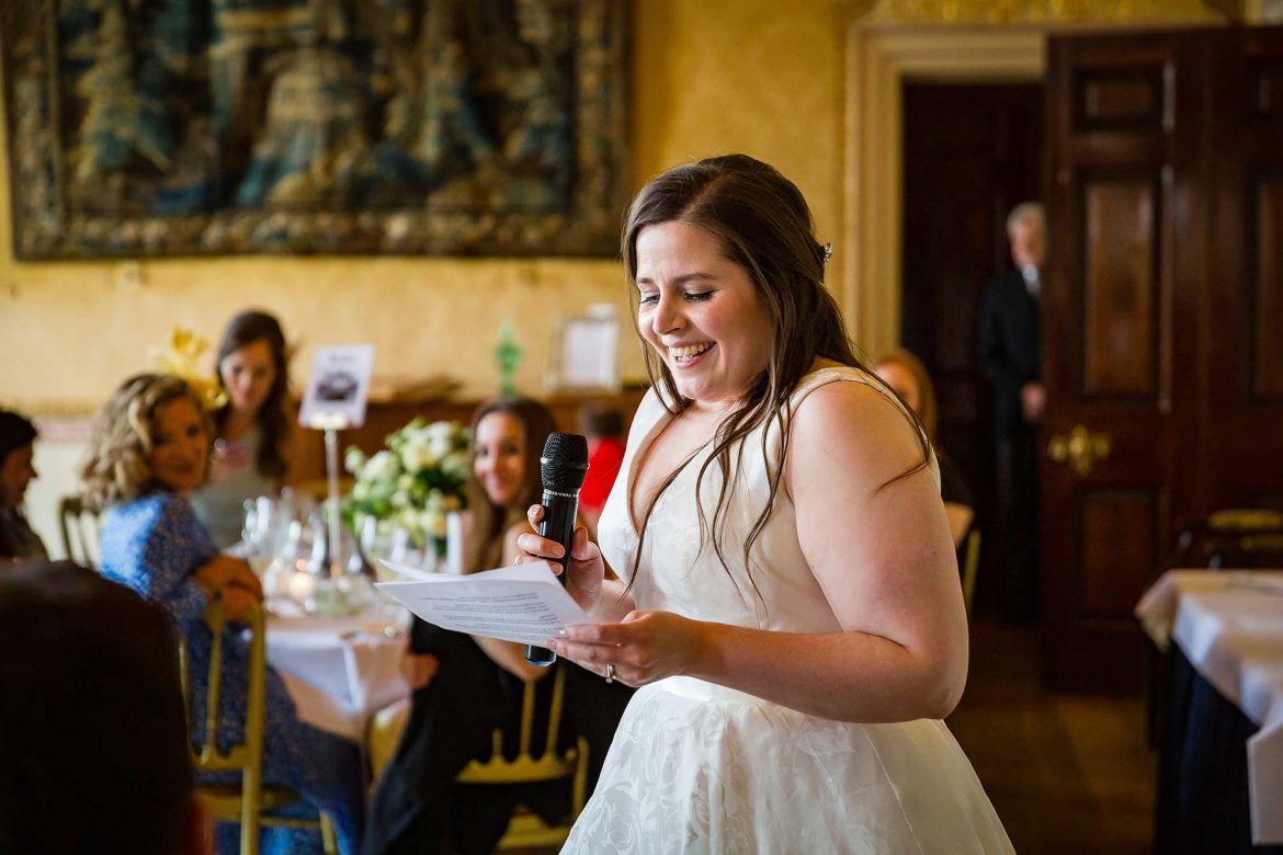 brides speech at Brocket Hall