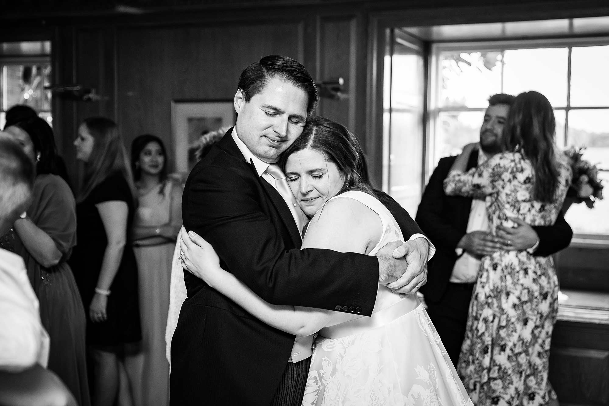 Bride hugs brother