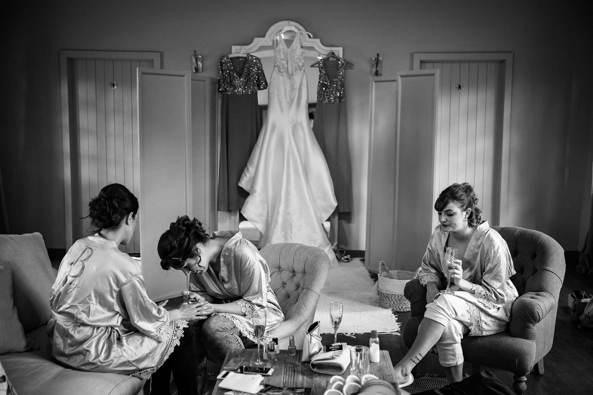 bridal preparations at Loseley Park Wedding