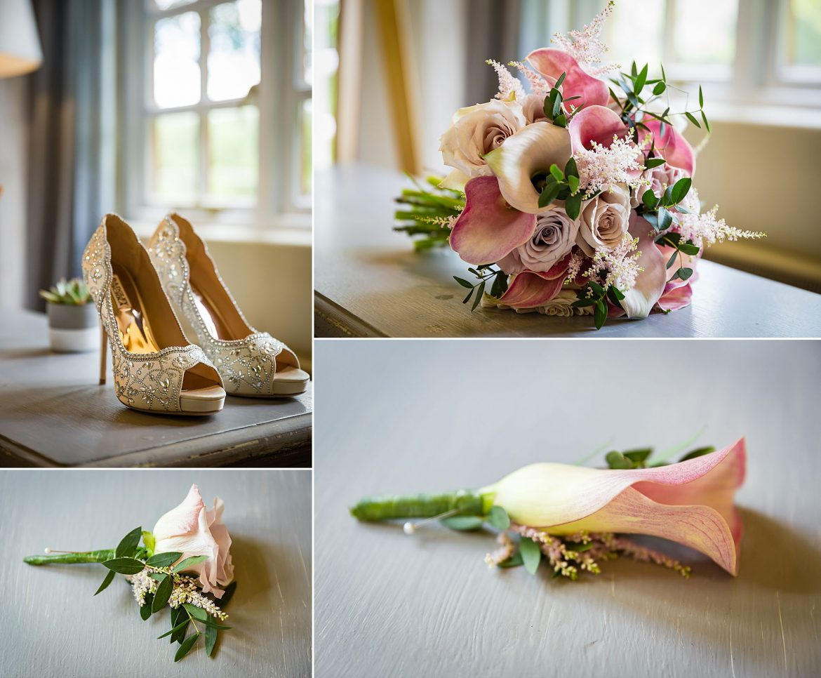 flowers in pink with wedding shoes